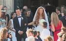 Jorge Mendes e Sandra a sair da igreja