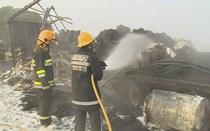 Camião em chamas na A1