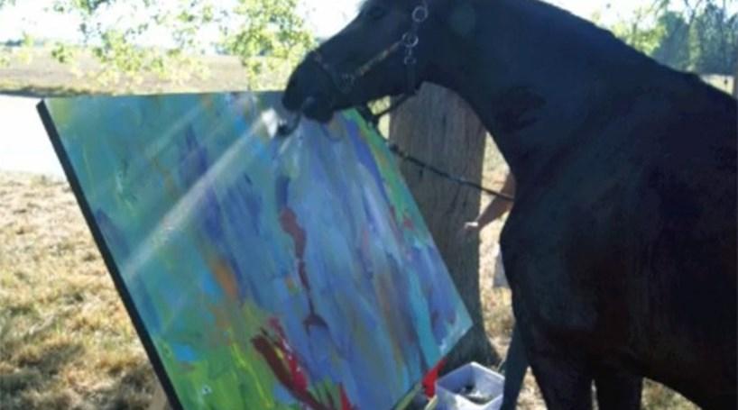 Cavalo pintor 'vende' quadros por 1900€