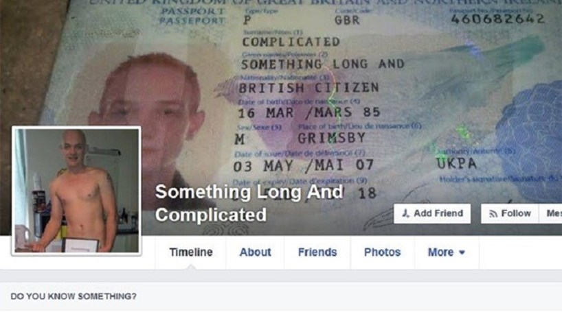Facebook: conta suspensa por nome esquisito
