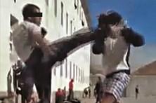 Presos filmam combate de arte marcial no pátio