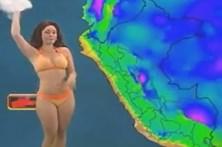 Faz strip-tease durante meteorologia