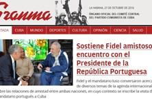 Marcelo e Fidel Castro em destaque no jornal do PC cubano