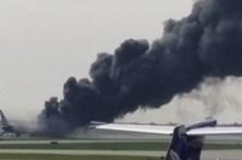 Avião incendiou-se durante descolagem