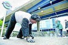 Homem-gorila gatinha em maratona