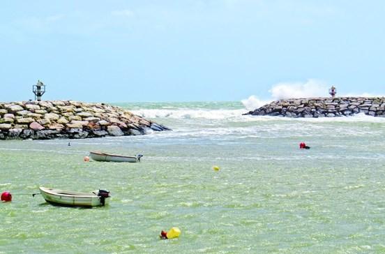 Mar revolto e vento forte causam danos na costa