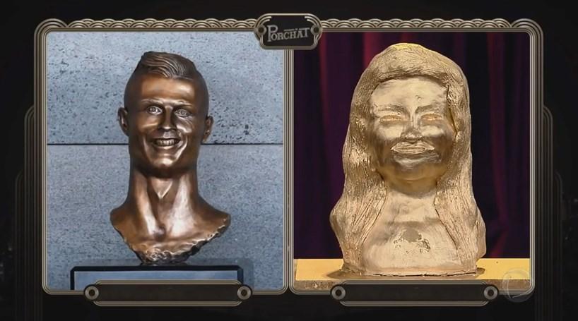 Kátia Aveiro recebe busto idêntico ao de Cristiano
