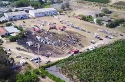 Drone da CMTV mostra carros destruídos em incêndio no Algarve