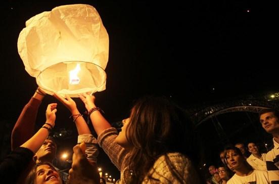 Rota dos balões de S. João do Porto caso sejam lançados ruma a Gaia e Gondomar