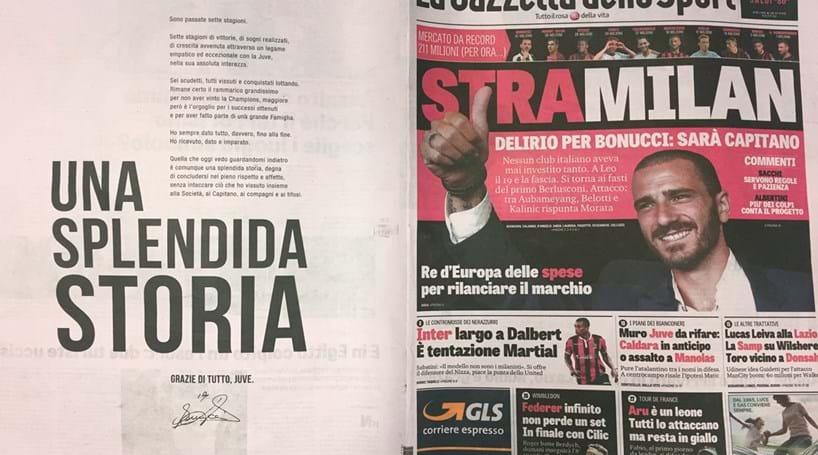 Bonucci despede-se de adeptos da Juventus com carta na Gazzeta dello Sport