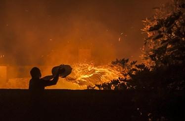 Fogo ameaça casas na Marinha Grande e já consumiu 80% do Pinhal de Leiria