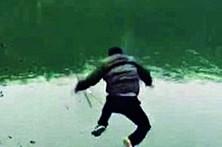Peixe 'rouba' cana de pescador distraído