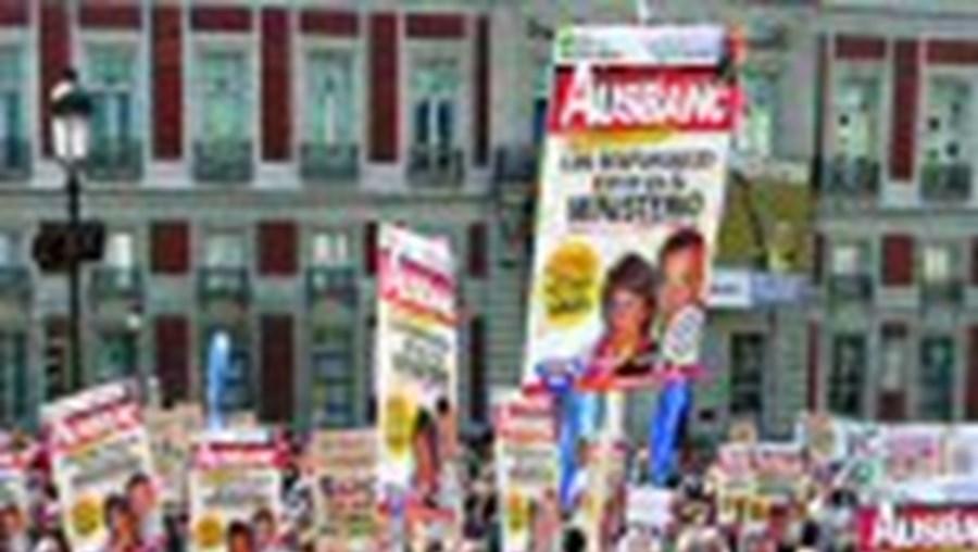 Protestos em Madrid
