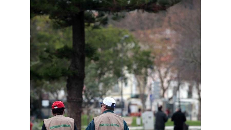 Dois patrulheiros em acção, em plena avenida Luísa Todi