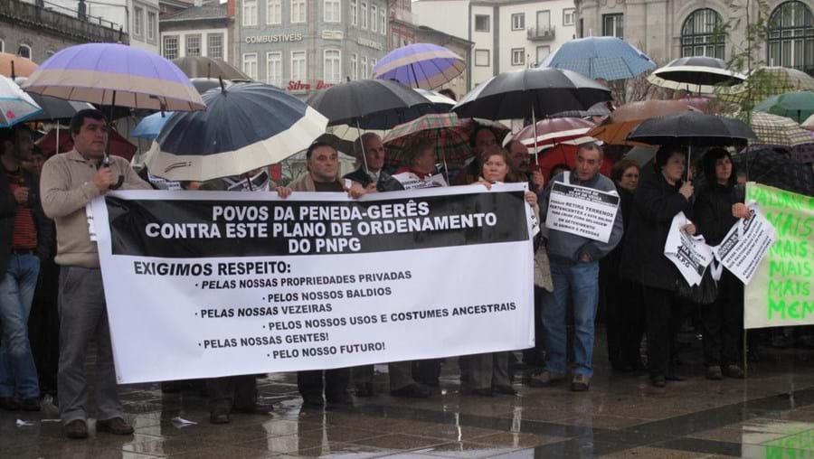 A população manifestou-se ontem no centro de Braga