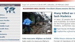Tragédia da Madeira abre site da BBC