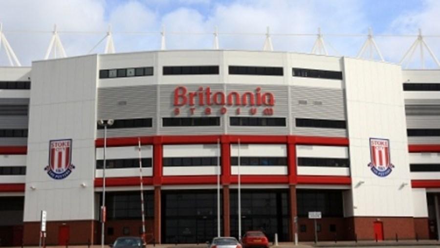 O Stoke's Britannia Stadium, onde teve lugar o jogo