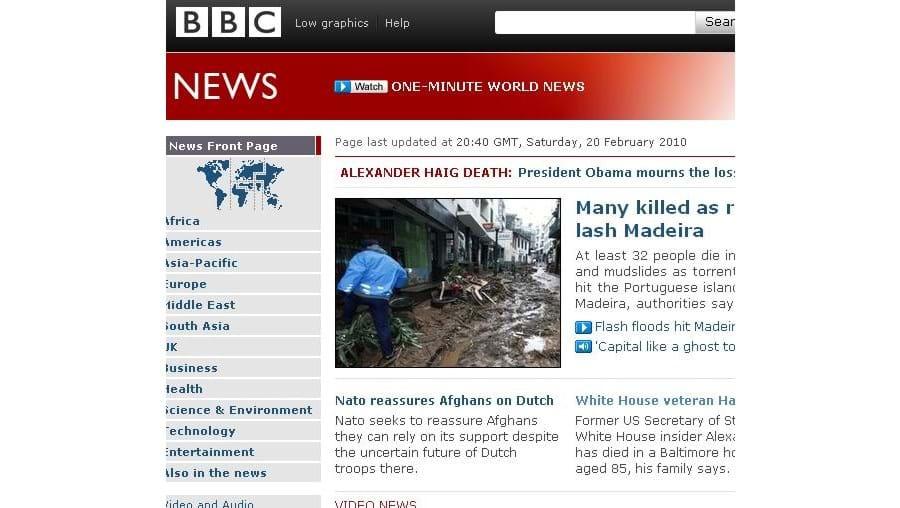Madeira abriu site da BBC