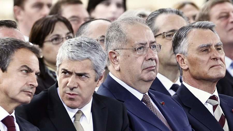 Zapatero, Sócrates e Jaime Gama ao lado de Cavaco Silva