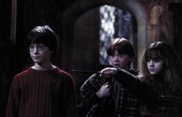 No primeiro filme da saga, 'A Pedra Filosofal' (2001), 'Harry Potter' fica a saber que é um feiticeiro e, juntamente com 'Ron' e 'Hermione' impede que 'Voldemort' obtenha o objecto que oferece a imortalidade