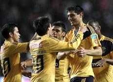 Paraguaio Cardozo festeja o primeiro dos dois golos que marcou no Estádio da Luz