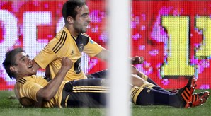 Salvio comemora o seu golo junto a Ruben Amorim