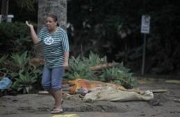 Mulher passa por cadáveres de vítimas da enxurrada em Teresópolis, uma das cidades mais atingidas