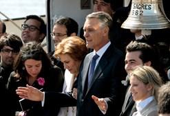 A navio escola Sagres recebeu o Presidente da República para um almoço.