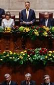 As principais figuras do Governo, Pedro Silva Pereira, José Sócrates e Luís Amado (da esq. para a dta.) ouvem as palavras de Cavaco Silva.