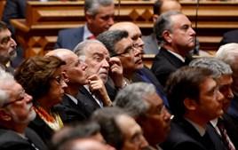 Leonor Beleza, Manuel Alegre, António Capucho, António Costa, Passos Coelho e Pinto Monteiro foram algumas das personalidades que assistiram ao discurso de tomada de posse.