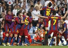 Triunfo em casa do rival foi muito festejado pelos catalães, que ficaram com um pé na final da Champions