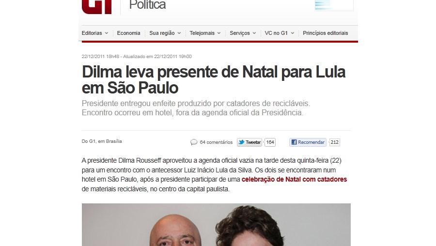 Pouco depois, ao encontrar-se com o ex-presidente num luxuoso hotel na zona sul da cidade, a chefe de Estado entregou-lhe o enfeite, confirmado pela assessoria de Lula, que no entanto não o detalhou