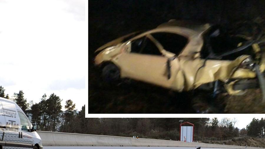 O despiste do Opel Tigra (foto peq.), seguido de capotamento, ocorreu junto a uma curva da A23, em Belmonte