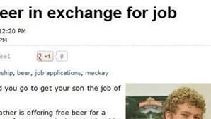 Cerveja à borla em troca de emprego