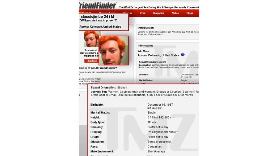 O perfil de James Holmes no site de sexo foi criado poucos dias antes do massacre em Denver