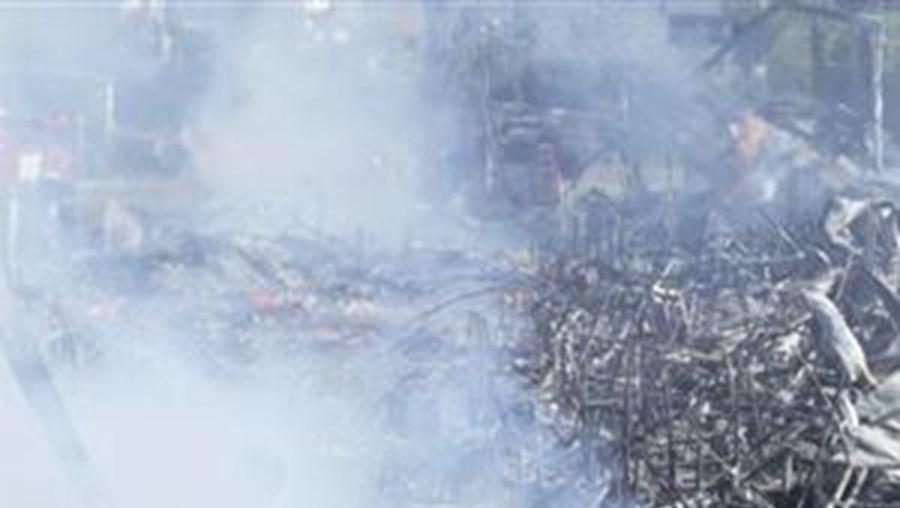 A explosão projectou material para duas casas nas imediações