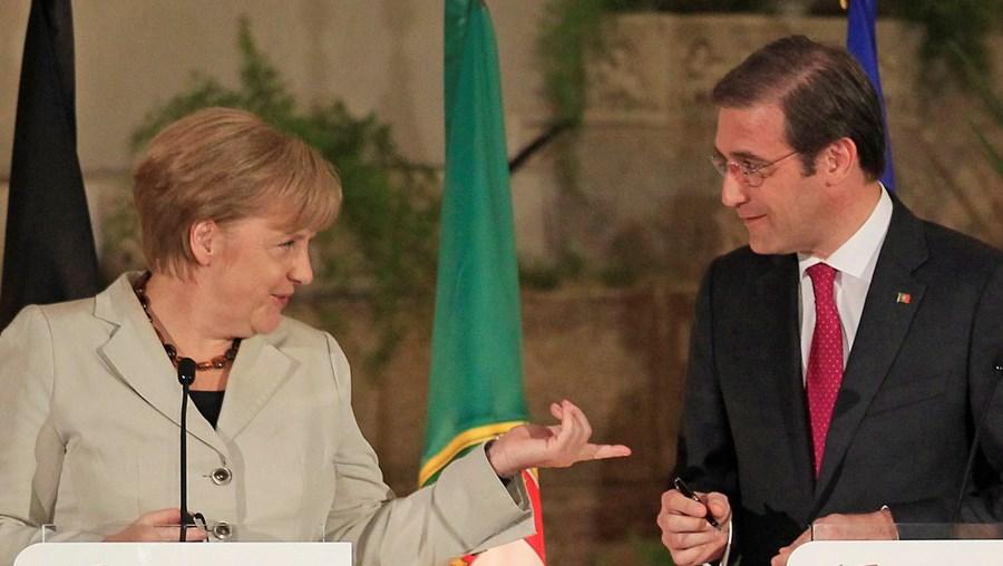 Angela Merkel e Passos Coelho ontem em S. Julião