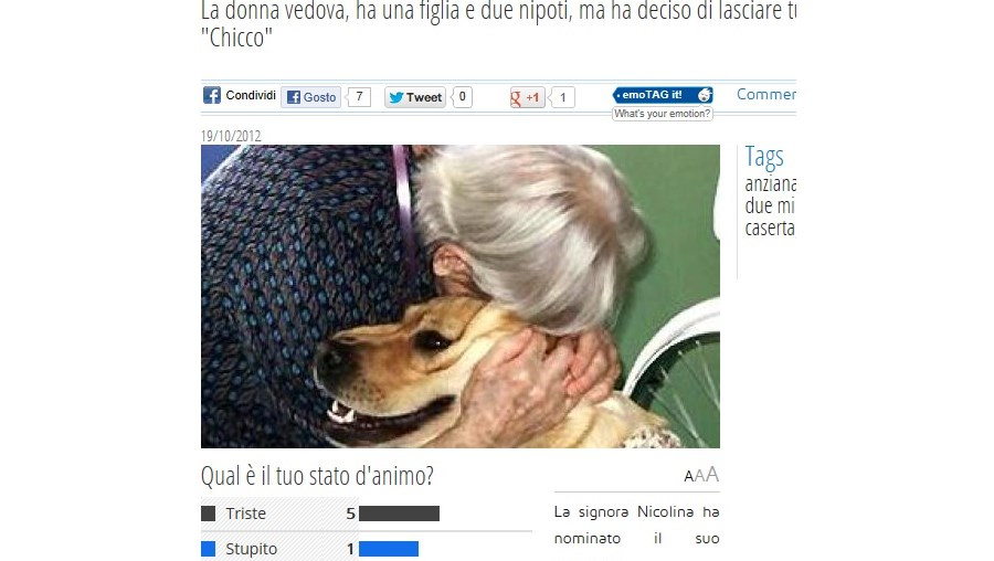 Imagem de Nicolina com o seu cão no site do jornal italiano Libero Quotidiano