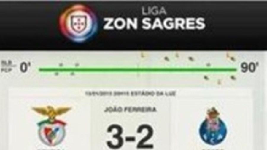 Foi assim que o resultado final do clássico de domingo apareceu no site oficial da Liga
