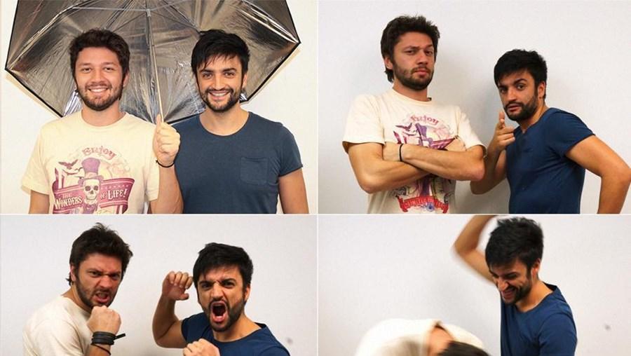 Diego Machado e Hugo Veiga (de azul) foram a dupla criativa