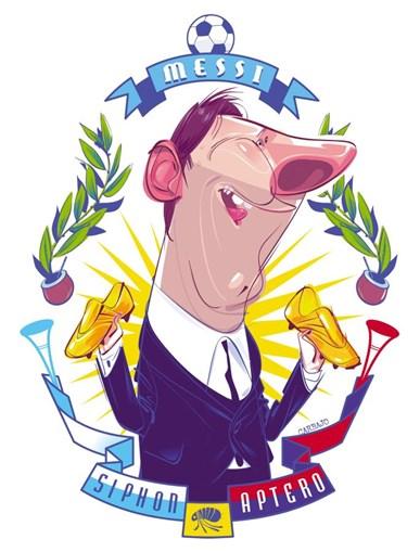 Carbalo. cartoonista espanhol, arrecadou o terceiro prémio na categoria de caricatura com o desenho 'Messi', publicado na revista espanhola El Jueves