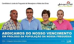 O revisor de texto falhou aos candidatos da CDU à Junta de Freguesia de Messejana e Aldeia dos Elvas