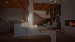 Sala do chalet nos Pirinéus desenhado por Catarina Almeida Santos e João
