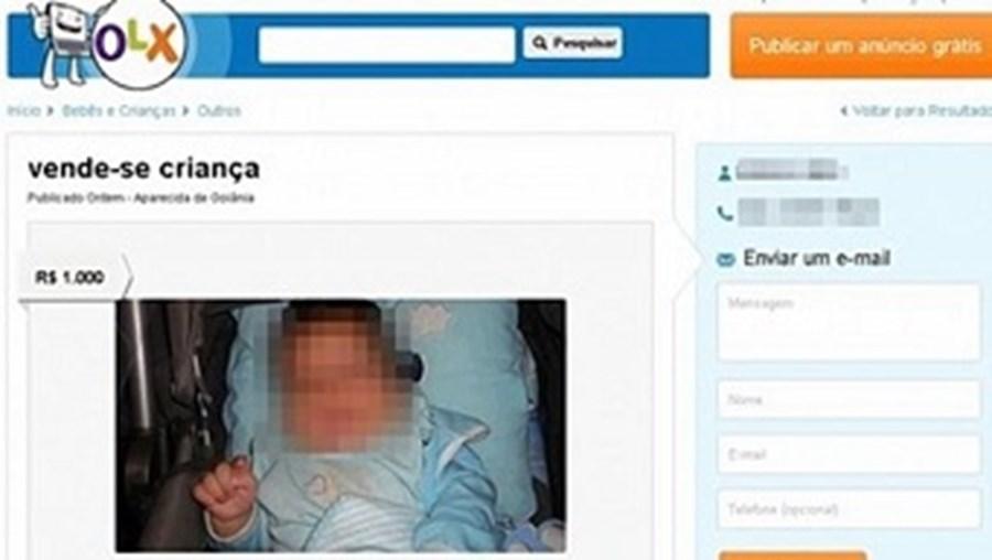 Anúncio do bebé à venda, que, entretanto, já foi retirado do site de compra e venda