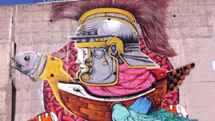 Graffiti de Gonçalo Ribeiro, um dos artistas desta iniciativa