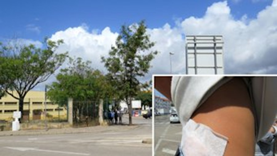 Maioria das vítimas foi atingida numa passadeira junto à Escola Júlio Dantas. Lucas Martins (ao lado) foi atingido numa anca