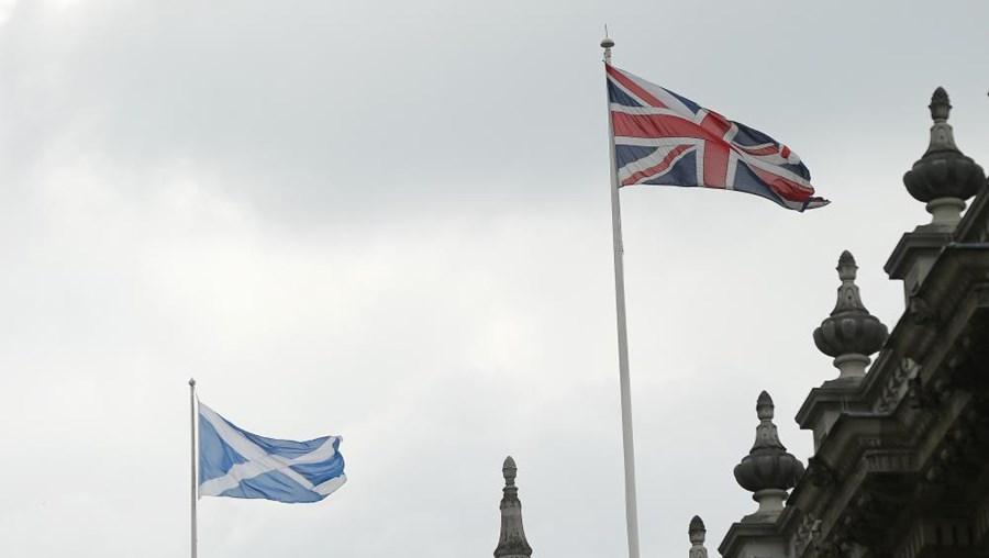Bandeiras da Escócia e do Reino Unido hasteadas lado a lado