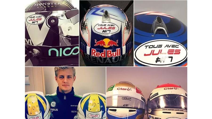 Vários pilotos divulgam fotos de apoio a Jules Bianchi