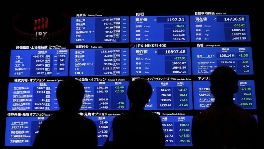 O índice Nikkei reflete a média não ponderada dos 225 valores vedeta da Bolsa de Tóquio
