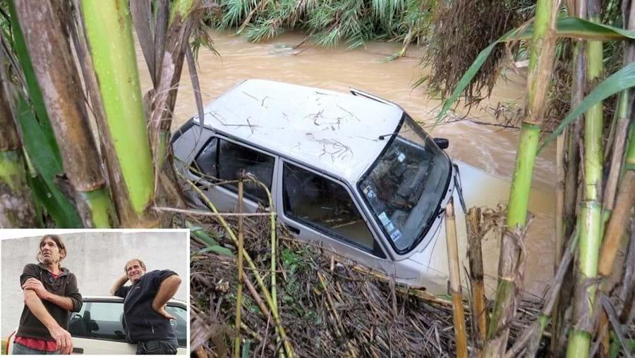 Rui Francisco (foto pequena, à esquerda) e Orlando Duarte salvaram mulher de carro arrastado pela força das águas da ribeira de Boina